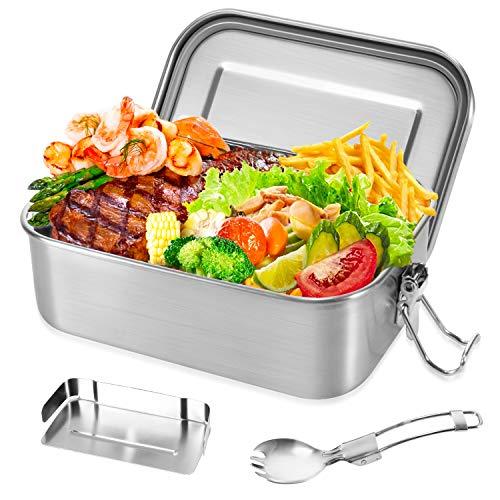 Gifort Lunchbox aus Premium Edelstahl, Brotdose für Erwachsene & Kinder, Bento Box 800ml mit Trennwand & Besteck, BPA-& Plastikfrei Nachhaltig Auslaufsicher Spülmaschinenfest