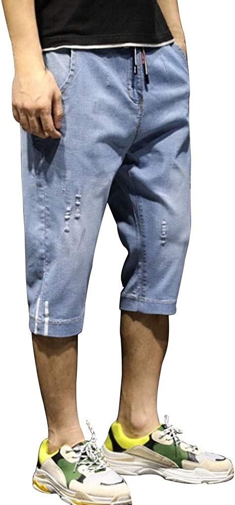 iCODOD Men's Thin Cropped Jeans Shorts Drawstring Elastic Waist Solid Colors Sweatpants with Pockets Outdoors Pants