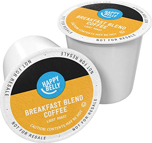 Amazon Brand - 24 Ct. Happy Belly Light Roast Coffee Pods, Breakfast Blend, Compatible with Keurig 2.0 K-Cup Brewers