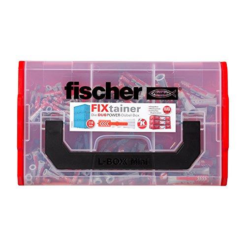 fischer FIXtainer DUOPOWER, Power- & Schlauer Dübelbox mit 210 DUOPOWER Dübeln (120 Stk. 6 x 30, 60 Stk. 8 x 40, 30 Stk. 10 x 50), Universaldübel für zahlreiche Baustoffe und Befestigungen