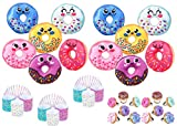 Donut Party 36 Pack -12 Mini Sprinkle Donut Coil Springs, 12 Icing Decorated Donut Rings, and 12 Smiling Face Donut Plush Toy – Party Favors, Prizes, Table Decorations