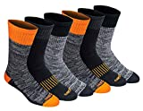 Dickies Men's Dri-tech Moisture Control Crew Socks Multipack, Hi-Vis Orange Black (6 Pairs), Shoe Size: 6-12