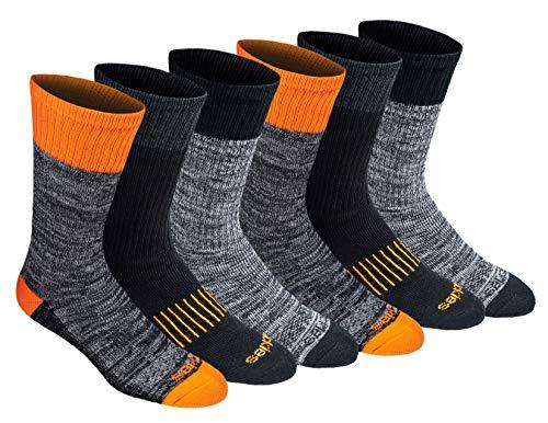 Dickies Men's Dri-tech Moisture Control Crew Socks Multipack, Hi-Vis Orange Black (6 Pairs), Shoe...