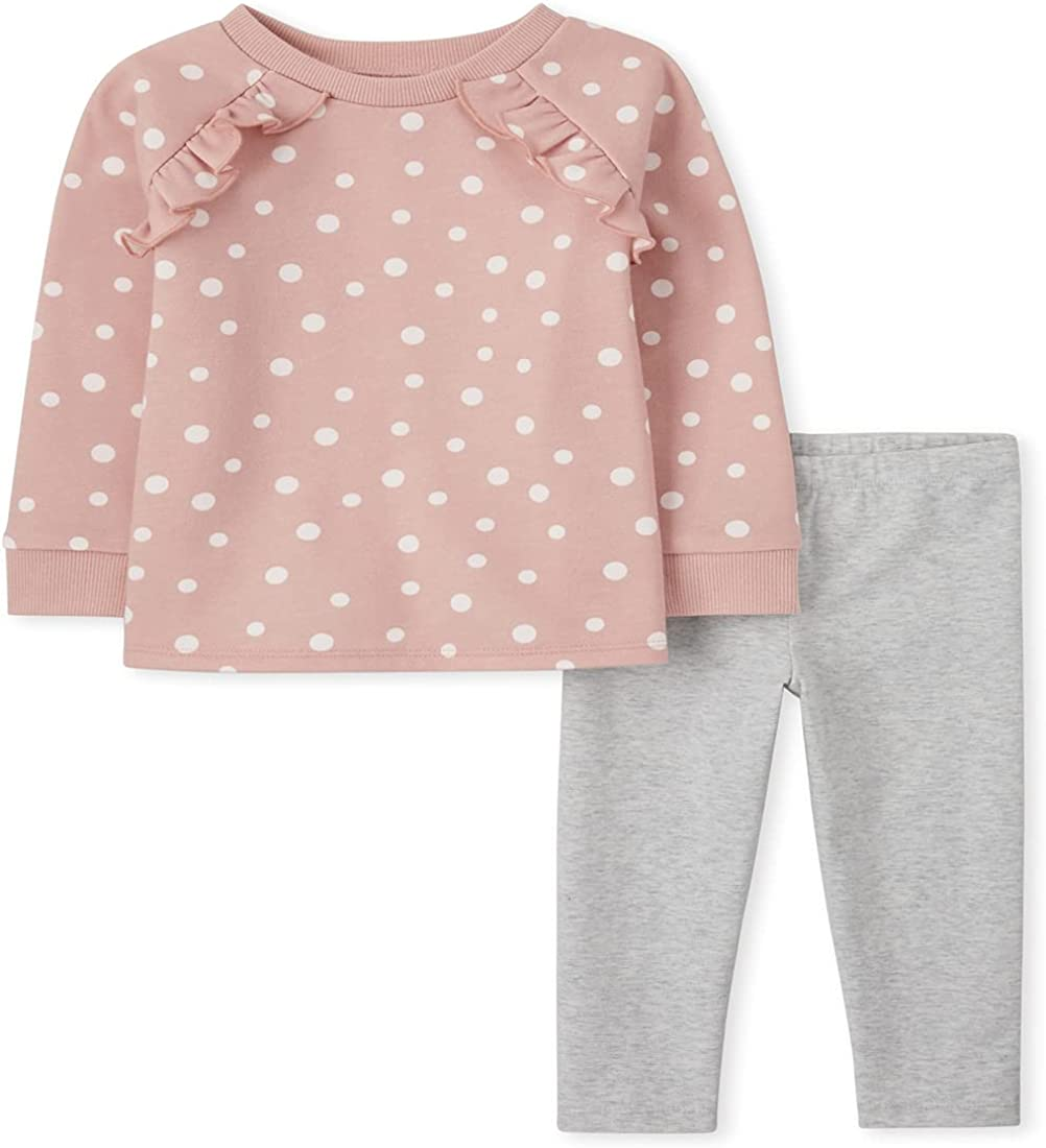 The Children's Place Baby Toddler Girl Long Sleeve Dot Print Ruffle Sweatshirt and Knit Leggings 2-Piece Outfit Set, Bare Rose, 12-18 Months: Clothing, Shoes & Jewelry