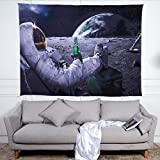 Tapestry Wall Hanging,Astronaut Drinking Beer On Moon, Psychedelic Hippie Large Rectangular Print Fabric,Modern Home Art Wall Decoration For Living Room Bedroom,150X200 Cm