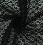 """mds Pack of 1 Yard Bridal Solid Raschel Lace Fabric, Vintage Lace Fabric Bolt for Wedding Dress,Fashion, Crafts, Decorations Lace Trim Fabric 55"""" Width- Black"""