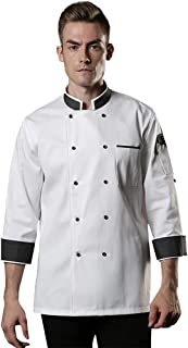 Sentao Professional Chef Jacket, Long Sleeve, Unisex, Modern Fit, White & Black & Red Available, Sizes M to 4XL