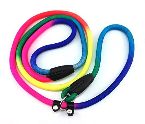 yueton Rainbow Pet Dog Nylon Leash Adjustable Loop Slip Lead Rope