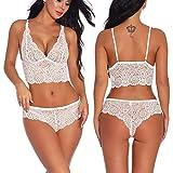 Women Sexy Lingerie Lace Babydoll Bodysuit Bralette Bra and Panty Set White