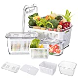Cedilis 3 Pack Plastic Produce Saver Storage Containers, Storage Containers for Refrigerator, Fridge Storage Organizer Bins with Divider, Fridge Container Box, White(Not Dishwasher Safe)