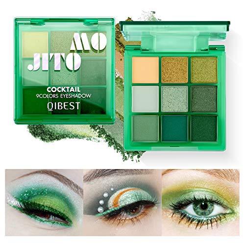 OLesley 9 colores Paleta de sombras de ojos Sombra de ojos multicolor con brillo mate Duradero Altamente pigmentado Paleta De Sombras De Ojos Cosméticos Maquillaje (03#Mojito)