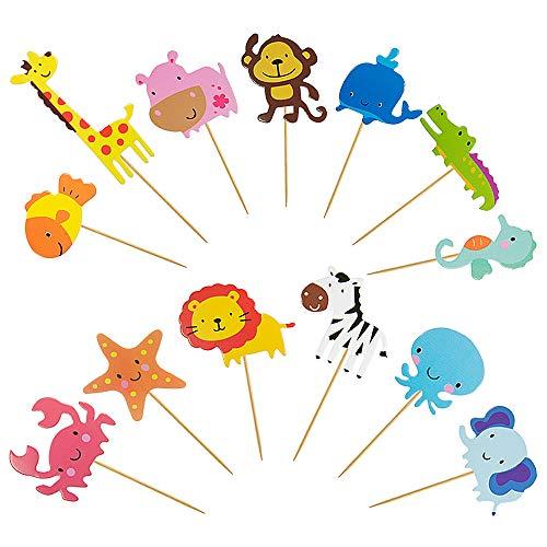 Vordas Zoo Tier Cupcake Toppers, 65 Stück Tier Kuchendeckel Topper für Kinder Baby Party Geburtstag Party Kuchen Dekoration Supplies