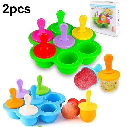 WENTS Mini Silikon Popsicle Form 7 Mulden DIY Ice Pop Form mit bunten Kunststoff-Sticks, EIS Makers für Ei, Lollipop und EIS Form Baby Food Storage Container, Antihaft Ice Cube Tray, 2pcs