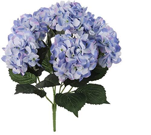 Larksilk Hydrangea Silk Flower Bush, Seven Heads Per Bush, UV Resistant, Indoor & Outdoor Silk Plant, Adjustable Stem, Rich Green Leaves, Wedding, Centerpiece, & Event Decor(Blue)