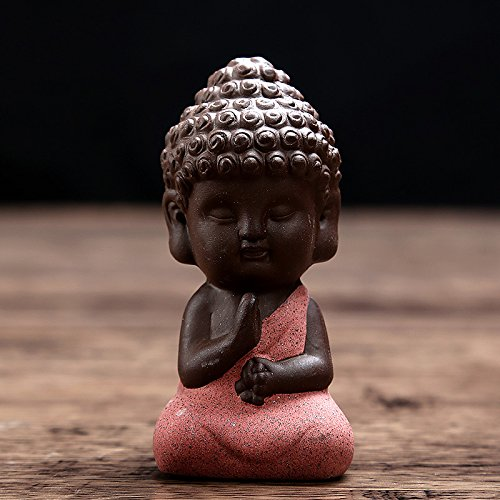 Decorative Gold Black Buddha Meditating Purple Red Figurine Sculpture Ornament