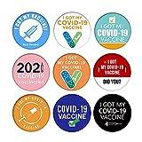 9pack I Got My Covid-19ワクチンワクチンウイルスバッジピンワクチンボタンピン、抗流行性ブローチワクチン接種レシピエントラウンドラッキーバッジメンズおよびレディースブローチ