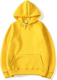 FSSE Mens Long Sleeve Fleece Solid Basic Pullover Hoodies Sweatshirt