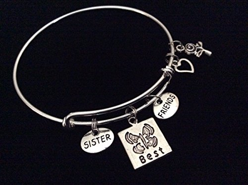Sister Best Friends with Butterfly, Heart and Rose Expandable Silver Charm Bracelet Adjustable Bangle Trendy Gift