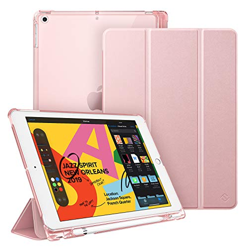 Fintie Case with Pencil Holder for iPad 7th Generation 10.2 Inch 2019 - Slim Shell Lightweight Cover with Translucent Frosted Stand Hard Back, Supports Auto Wake/Sleep for iPad 10.2', Rose Gold
