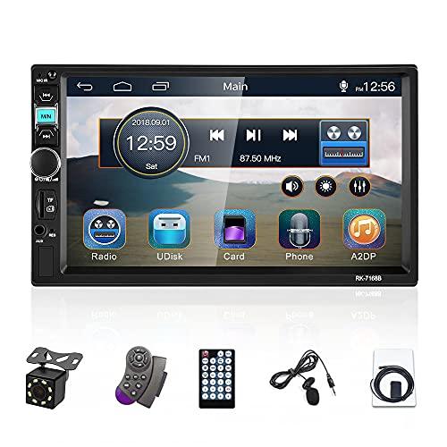 CAMECHO 2 DIN Autoradio Dab + Radio 7 Pouces à écran Tactile HD Récepteur Bluetooth FM /AUX / USB / Subwoofer + Microphone Externe + Caméra de recul