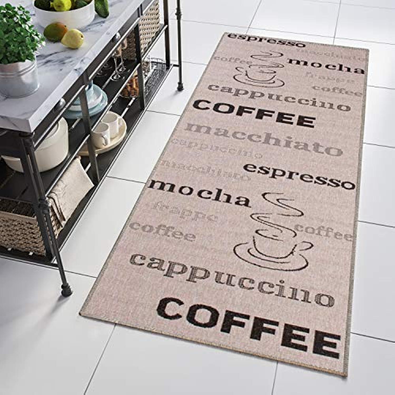 Tapiso Floorlux Teppich Lufer Meterware Flur Küche Wohnzimmer Indoor Sisal Optik Modern Beige Schwarz Kaffee Schrift nach Ma 120 x 110 cm