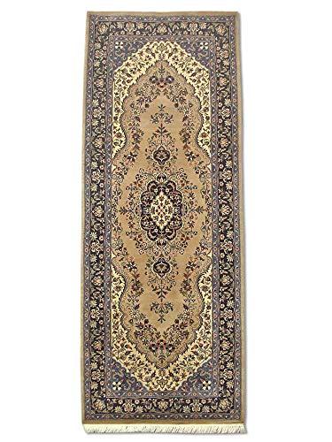 Pak Persian Rugs Handgeknüpfter Kerman Teppich, Kamelbraun/Beige, Wolle, Small, 75 X 198 cm