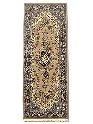 Pak Persian Rugs Kerman - Alfombra (Lana, 75 x 198 cm), Color marrón y Beige