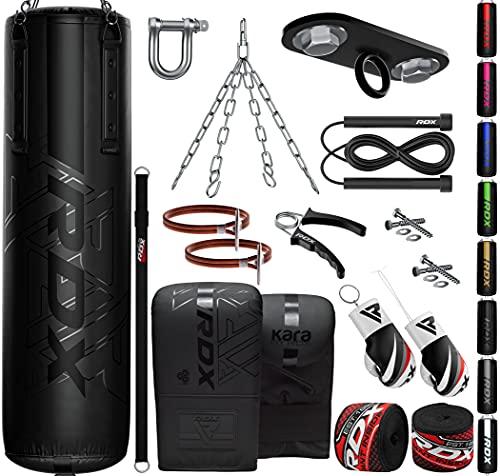 RDX 13PC Boxsack 5ft 4ft und Boxhandschuhe Set, Gefüllt Erwachsene Kara Sack mit Deckenhaken, Kette für Boxen, Kampfsport Kickboxen, Muay Thai, MMA Training, Punchingsäcke Handschuhe (MEHRWEG)