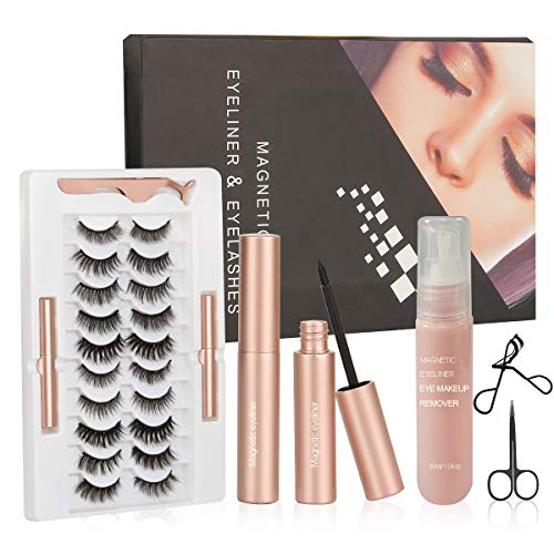 Magnetic Eyelashes with Eyeliner, Eyeliner and Eyelashes Remover Kit, 10 Pairs Natural lashes, Tweezers,30 ml Eye Makeup Remover,Black Scissors and Curler