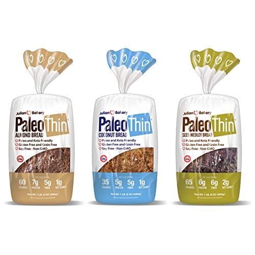 Julian Bakery Paleo Thin Bread | Almond, Coconut and Seed Medley Variety Pack | Gluten-Free | Grain-Free | Low Carb | 3 Pack
