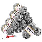 Fuyit 12 Grey Acrylic Yarn Skeins, 1310 Yards Soft Double Knitting Yarn with 2 Crochet Hooks for Beginner Knitting Crochet & Crafts (12 x 50G)
