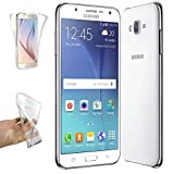 REY Funda Carcasa Gel Transparente Doble 360º para Samsung Galaxy J5 (2015), Ultra Fina 0,33mm, Silicona TPU de Alta Resistencia y Flexibilidad