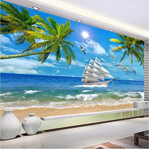 Fotobehang Fotobehang Thuis Strand Kokosnoot Boom Zeezicht Aangepaste 3D Fotobehang Muren voor Woonkamer Slaapkamer Wanddecoratie Mural Papel De Parede 3D