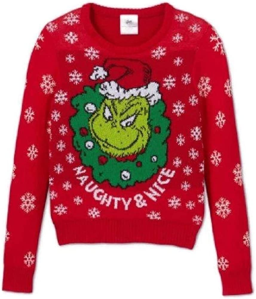 grinch Naughty & Nice Ugly Christmas Sweater (Big Girls L 10-12) Red
