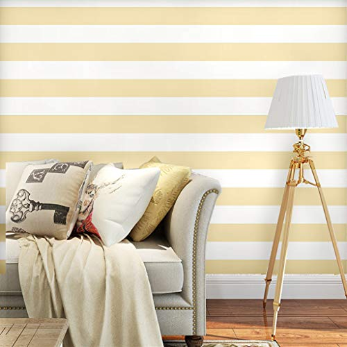 Blooming Wall Peel and Stick Removable White Yellow Stripes Wallpaper Vinyl Self Adhesive Contact Paper Decorative