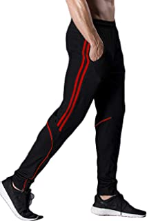 CROSS1946 Men's Black Slim Fit Joggers Track Pants Athletic Running Jogging Bottoms Multi Pockets Sweatpants