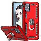 LeYi Funda Samsung Galaxy A71,Armor Carcasa con 360 Grados Anillo iman Soporte Hard PC y Silicona TPU Bumper Antigolpes Case para Movil A71,Rojo