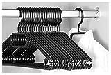 Keplin 20 x Premium Kleiderbügel mit Wirbelhaken, schwarz, 40 cm breit