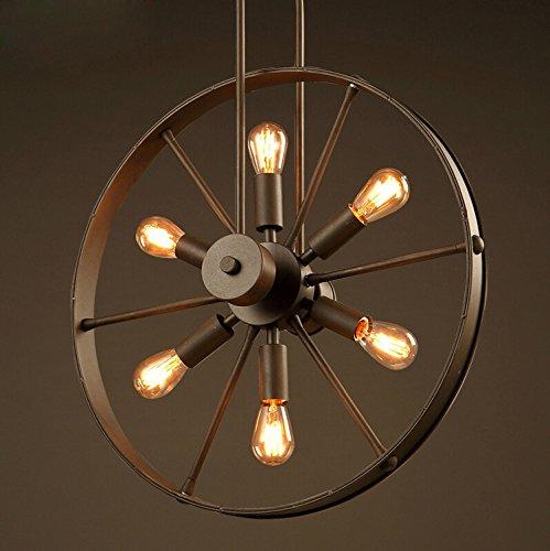 XY&XH lámpara araña , Loft lámpara industrial Wind Wheel lámpara Creative Cafe restaurante personalidad lámpara Retro Iron Chandelier