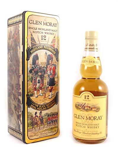 Glen Moray Single Highland Scotch Whisky 12 Year Old Tin Presentation The Black Watch Royal Highland Regiment in einer Geschenkbox, da zu 4 Wein Accessoires, 1 x 700ml