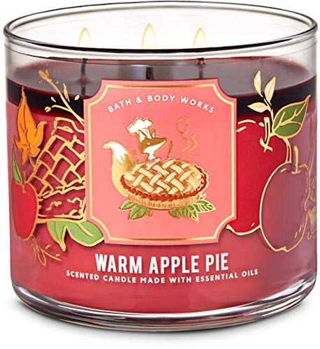 White Barn Candle Company Bath and Body Works 3-Wick Scented Candle w/Essential Oils - 14.5 oz - Warm Apple Pie (Baked Granny Smith Apple, Melted Brown Sugar, Flaky Homemade Crust)
