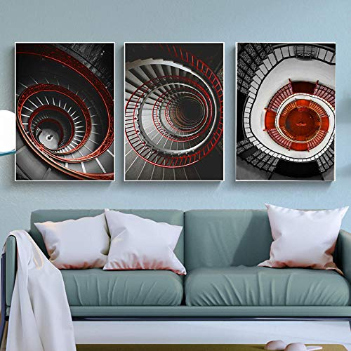 Abstracte woondecoratie canvas schilderij muurschildering woondecoratie poster restauratie trap poster woonkamer hotel kunstwerk 40x60cmx3 (frameloze)