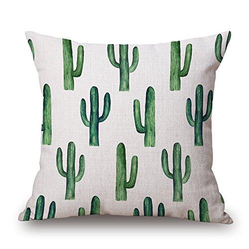 Harson&Jane Cactus Verde Sabana de Algodon Cubierta del Cojín de la Decoración 45x45cm Tirar la Funda de Almohada para el Coche de la Cama de Sofá (Type D)