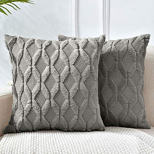 LHKIS Throw Pillow Covers 18x18, Dark Gray Decorative Boho Pillow Case Cushion Cover with Velvet Luxury Soft Plush Short Wool for Couch Sofa Bedroom Car, Set of 2