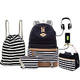 ANJUREN School Backpack USB Book Bags Lunch Bag Pencil Case Drawstring Backpack...