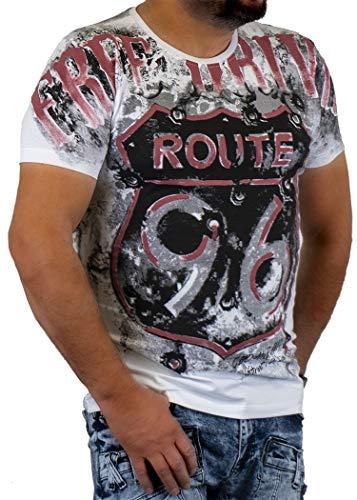 Cipo Baxx Herren T-Shirt Kurzarm-Shirt Tshirt voll Bedruckt Applikation Aufdruck Allover-Print Motiv Rundhals CT551 (M, Weiß)