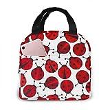 Yuanmeiju Bolsa de almuerzo de mariquitas rojas, bolsa de picnic aislada, enfriador térmico, bolsa grande para preparación de comidas, bonita bolsa grande, a prueba de fugas, bolsas blandas