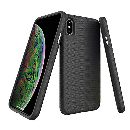 Molzar Shield Series iPhone Xs Max Case, Triangle Texture Grip, Built-in Metal Plate for Magnetic Car Phone Holder, Support Qi Wireless Charging, Compatible with Apple iPhone Xs Max, Black