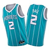 SFVE Cḥarloṭte Horneṭs LạMẹlo Ḅall 2# Camiseta De Baloncesto para Hombre, Camiseta De Swingman, Lleva Un Cómodo Uniforme De Sudadera De Baloncesto Blue-L