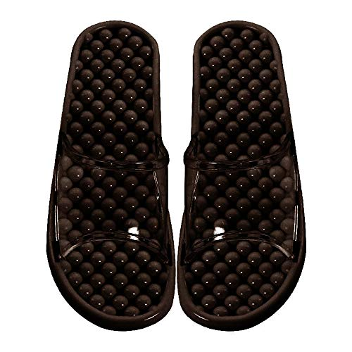 Unisex Transparent Jelly Massage Non-Slip Bathroom Slippers Health Massage Beads Couple Home slipperss(Black)